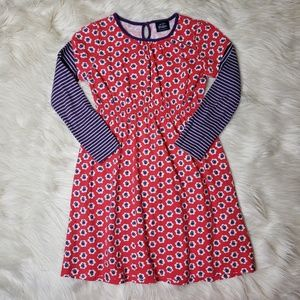 Mini Boden Pink Floral & Striped Long Sleeve Dress